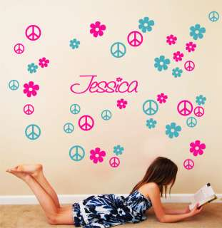 Name Peace Signs Flowers Vinyl Wall Decals Art #024