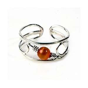 Sterling Silver Open Shank With Red Bead Adjustable Toe Ring Jewelry