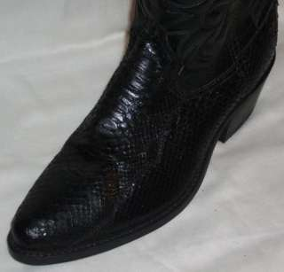 Mens Acme All Black Python, Snakeskin Boots, sz8.5 E 8 1/2 NEW