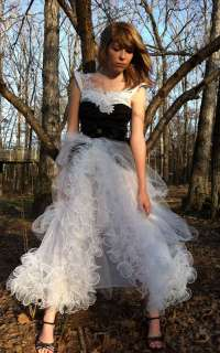 Vintage Altered re purposed FROTHY RUFFLED GYPSY Wedding gown dress XS
