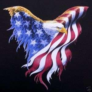 AMERICAN FLAG EAGLE PATRIOTIC BIKER RIDER T SHIRT WS40