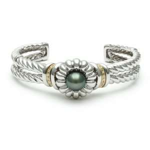 with Black Tahitian Pearl Center, 14K Yellow Gold and Diamond Accents