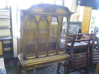 Antique gold curio PULASKI China Cabinet Wood Glass W Light side doors