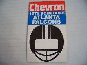 1978 NFL Atlanta Falcons Football Pocket Schedule