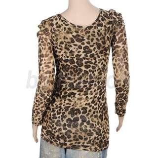 Sexy Womens Leopard Print T shirt Clubwear Long Sleeve Shirt Tops