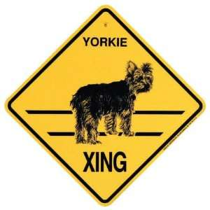Yorkie (Puppy Cut) Crossing Xing Sign: Kitchen & Dining