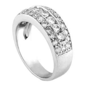 Elegantly Attractive Silver Wedding Ring, Crafted with Three Rows of