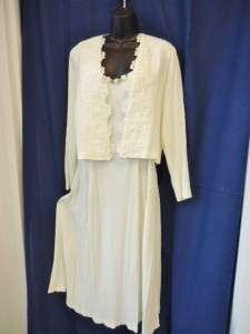 Pc Ivory White Special Occasion Dress Gown & Jacket Set ~ ULTRA