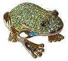 Green Crystals Frog Jewellery Jewelry Trinket Ring Box