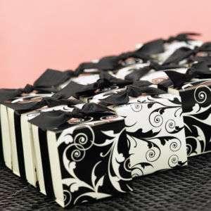 100)Black & White Flourish Favor Boxes Wedding Elegant
