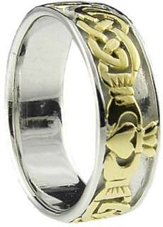 14k White Gold Silver Celtic Irish Claddagh Mens Ring