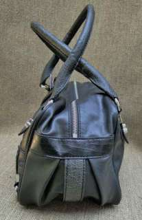 GUESS Black Faux Leather Emory Satchel Handbag NWT