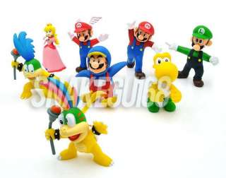 8PCS New Super Mario Bros Figure Toy Doll+MS664