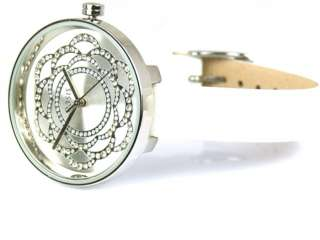 OASIS B939 Large Round White Face White Leather Strap