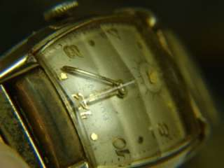 VINTAGE ART DECO BULOVA GOLD FILLED WRIST WATCH w CASE RARE CRYSTAL