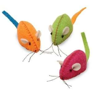 Neon Nina   Neon Pink, Green & Orange Felt Mice Pet