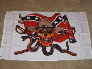 3X5 CONFEDERATE SKULL FLAG REBEL DIXIE C.S.A. CSA F101