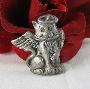 Adorable Pewter Tone Cat Angel Pin Brooch FERAL CAT RESCUE