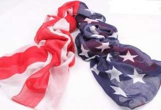 1pc Fashion patriotic star stripe USA flag printing cotton Shawl Wrap