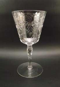 Elegant Floral Cut Glass Water Goblet~Facet Stem~Circle