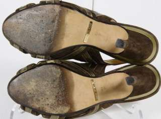 Cole Haan Brown Suede Peep Toe Bow Slingback Stiletto Heels Size 6.5 B