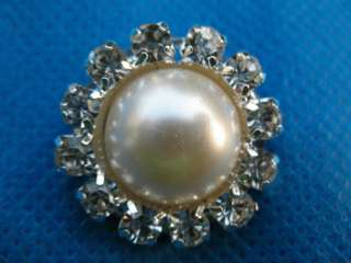 Sparkling Clear Crystal Rhinestone Pearl 26mm Buttons #A91