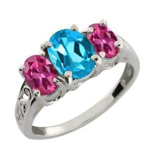 50 Ct Oval Swiss Blue Topaz and Pink Tourmaline Argentium Silver Ring