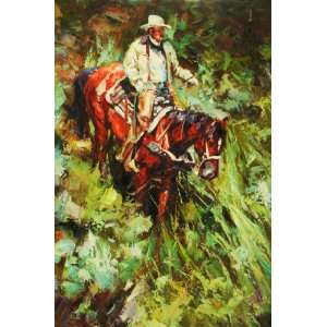 Western Cowboy, Horse, Hand Painted Oil Canvas on Stretcher Bar