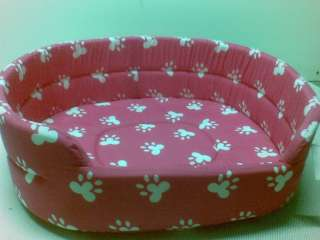 DOG / PET BED  PINK WITH WHITE PAWS / PAW DESIGN   EXTRA LARGE 55cm
