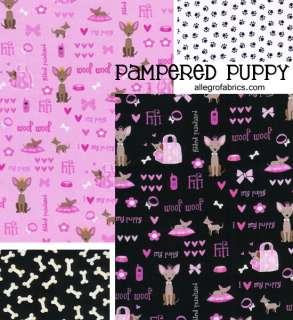 Pampered Puppy Dog Fabric Paw Prints Tracks Black on White