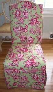 Parsons Chairs Floral Shabby Toile Look French Fabric 2