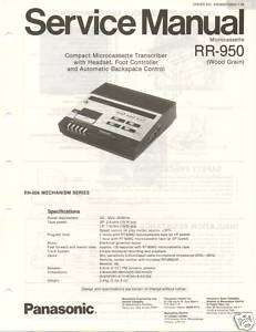 Original Service Manual Panasonic RR 950 Cassette Trans