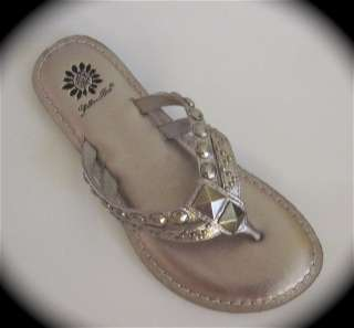 BOX STELLAR PEWTER LEATHER STUDDED FLIP FLOP SANDALS SHOES
