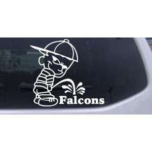 Pee On Falcons Car Window Wall Laptop Decal Sticker    White 16in X 14