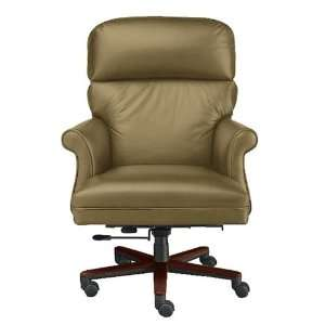 High Back Leather Executive Chair Black Leather/ Natural