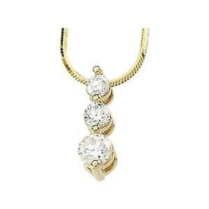 Yellow Gold Diamond Three Stone Pendant with Chain   1.00 Ct. Jewelry