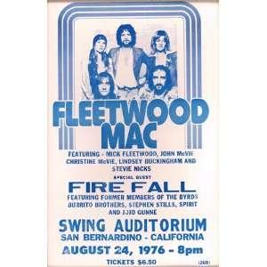 Fleetwood Mac 1976 14 X 22 Vintage Style Concert Poster
