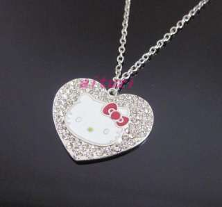 kitty red bow crystal heart pendant necklace xmas gift p32