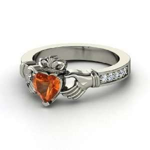 Claddagh Ring, Heart Fire Opal Platinum Ring with Diamond Jewelry