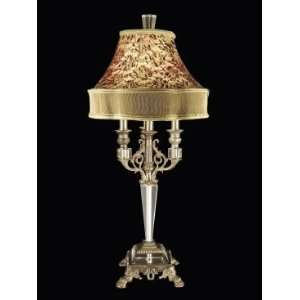 Dale Tiffany Leyland Crystal Table Lamp in Antique Brass