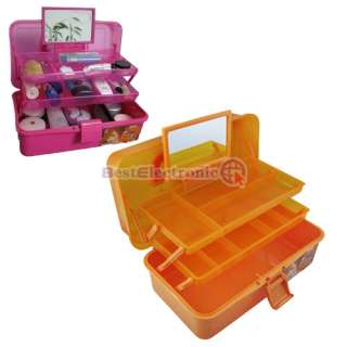 Three Layers Mirrored Make Up Cosmetic Jewelry Case 3co