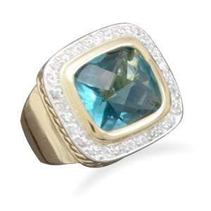 14 karat gold plated fashion ring with blue CZs / Size 7