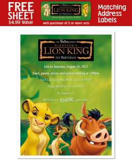 LION KING Personalized Birthday Party INVITATIONS