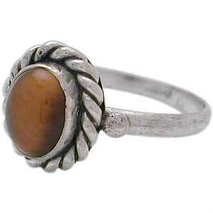 Oval shaped Tiger eye Sterling Silver oxidized ring