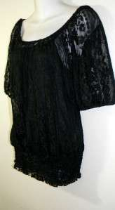 INC 2 PC. Short Sleeve lace Black Peasant Tunic Top Womens Misses