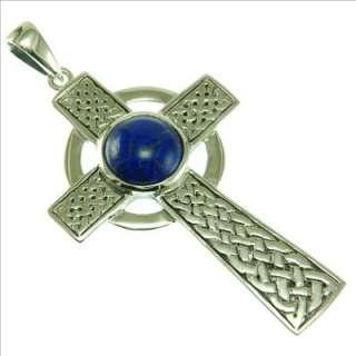 Silver Large Celtic Cross Pendant w Lapis Lazuli Stone
