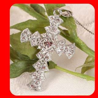 Cross pendant necklace Swarovski Clear Crystal G23