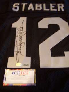 KEN STABLER SIGNED AUTO OAKLAND RAIDERS HOME JERSEY W/ INSCRIPT SNAKE