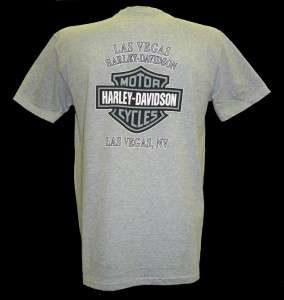 Harley Davidson Las Vegas Dealer Tee T Shirt GRAY MEDIUM #TSX