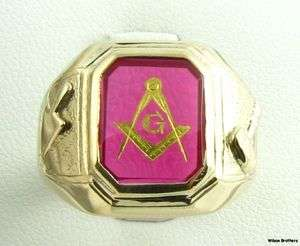 Syn Red Spinel Band   10k Yellow Gold Masons Ring Gavel 10.9g